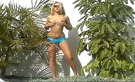 Naughty Abbi exposed! See what this blonde stunner gets up to when shes all alone at the pool side.